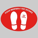 Maintain Distance (Feet) - Oval  Floor Decal