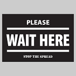 Wait Here (Black) - Rectangle Floor Decal